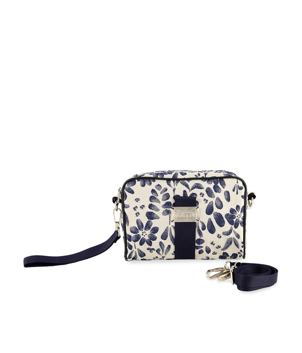 Beauty Bag Tessuto Damascato Quitto Bagsle-bianco-blu-fascia-blu-fronte