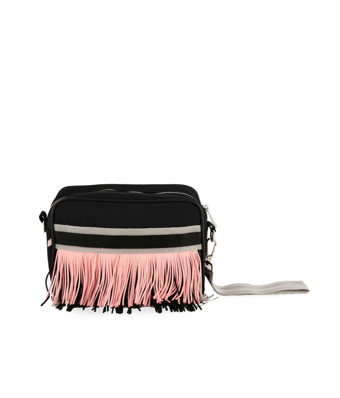 Beauty Bag in Tessuto Tecnico Nero Frange  in Alcantara Rosa Grigio Nere Quittobags