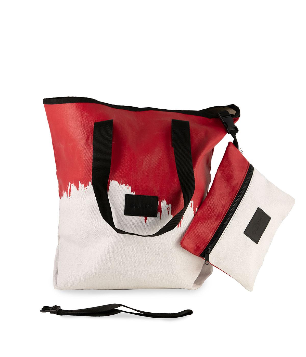 Sacca Rettangolare Impermeabile Bianca e Rossa Quitto Bags