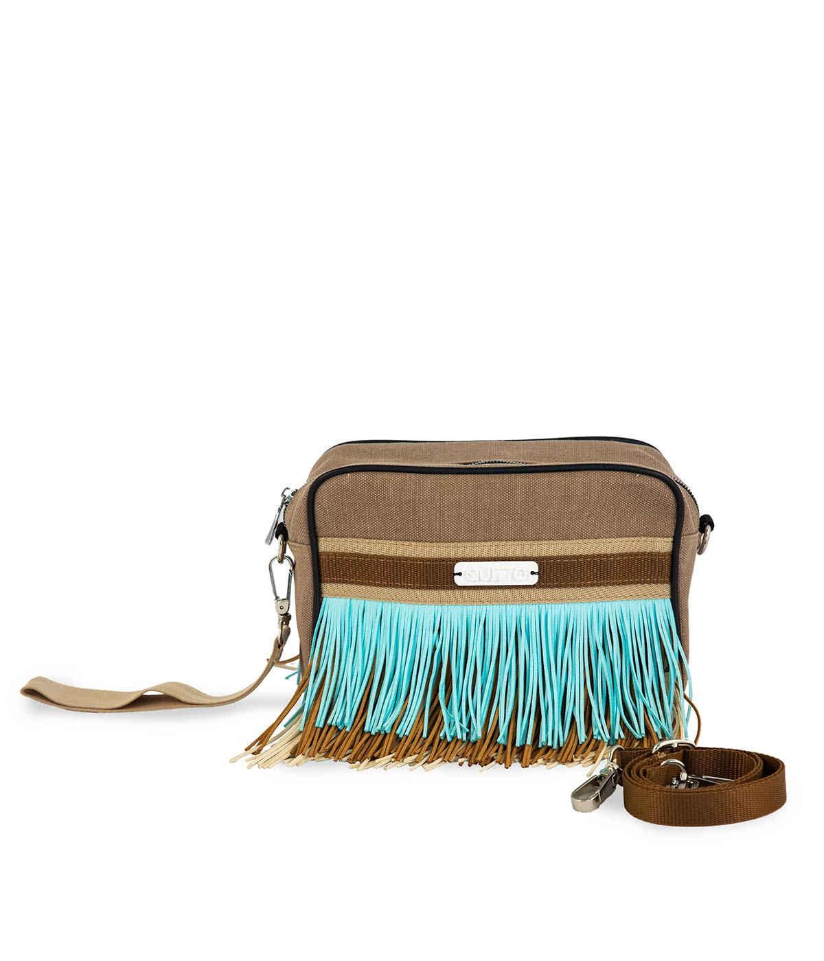 Beauty Bag Tessuto Tecnico Marrone Frange Alcantara Quittobags